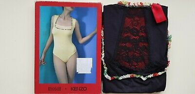 WOLFORD KENZO STRING BODY S small BLACK vest top floral edging & lace panels NEW