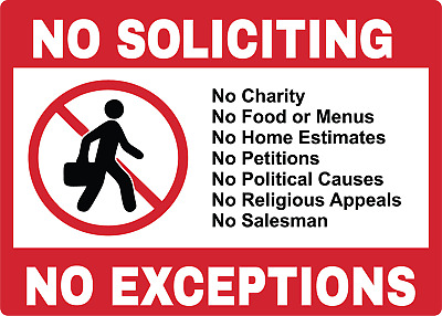 NO SOLICITING NO EXCEPTIONS | Adhesive Vinyl Sign Decal