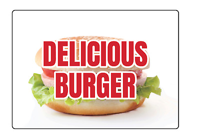 RESTAURANT FAST FOOD DELICIOUS BURGER | Adhesive Vinyl Sign Decal