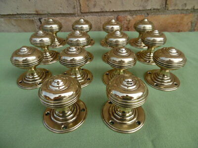 7 Pairs Of Stunning Victorian Semi Beehive Solid Brass Door Knobs Polished