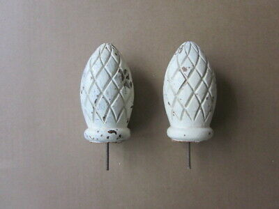 2 Old Wood Salvage Pineapple Finials 5 inches Tall Shabby Chic