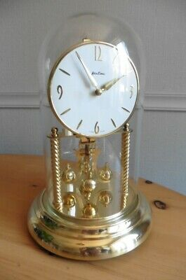 LARGE c1960s BENTIMA 400 DAY ANNIVERSARY CLOCK AND DOME SERVICED AND WORKING