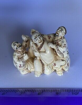 Japanese signed NETSUKE three jolly companions, beautifully carved great detail