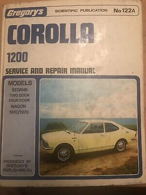 Toyota Corolla 1200 Gregorys No122A Workshop Manual
