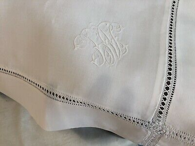 Large Antique single linen oxford pillowcase with monogram and drawn thread