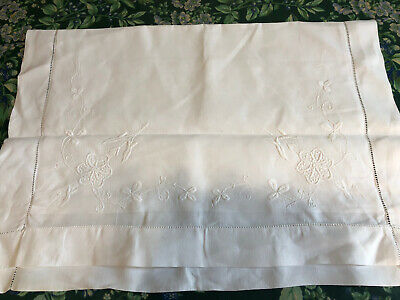 Pair of antique embroidered linen oxford pillowcases with button fastening