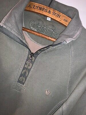 Mens Fat Face 1/2 Zip Neck Sweater! Green! 100% Thick Cotton! Size S!