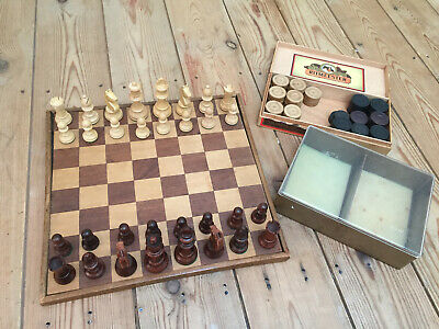 Vintage Antique Wooden Chess Set in box & Board Dutch or French Handmade