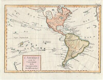 L'Amerique 1760 map of North and South America by Jean Lattre