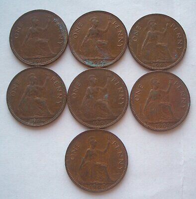 UK  7 penny coins 1961 - 1967
