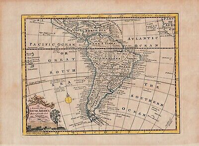 An antique map of South America by William Guthrie c1760