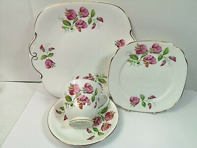 Vintage Windsor Bone China Sweet Pea  Tea Trio  Set + Cake Plate