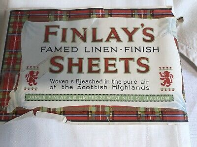 Pair of antique Finlay's Scottish linen finish sheets brand new