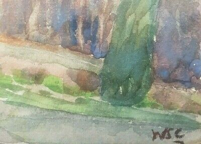 Churchill Winston vintage nice watercolor painting on paper hand signed