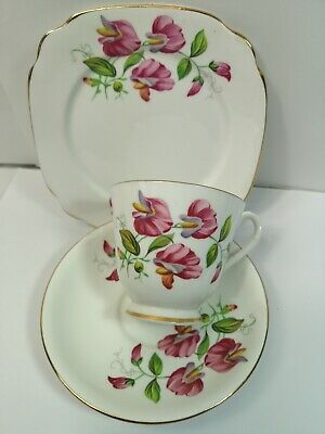 Vintage Windsor Bone China Sweet Pea  Tea Cup Saucer Tea Plate Trio Set