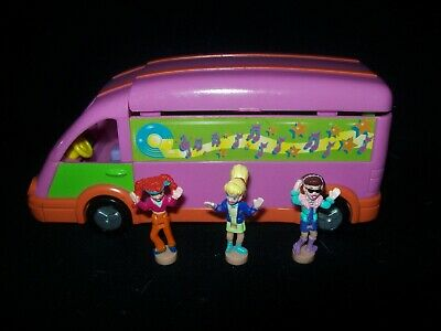EUC 100% Complete Vintage Polly Pocket Polly and the Pops Tour Bus 1998