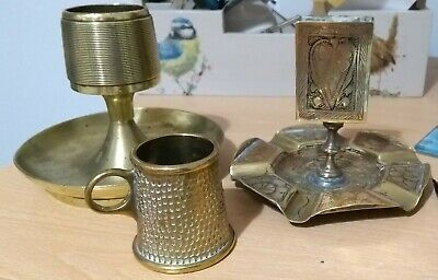 3 old unusual brass smokers ashtrays / strikers / match holders