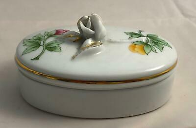 Hollohaza Hungary Porcelain Oval Trinket Box with Floral Design