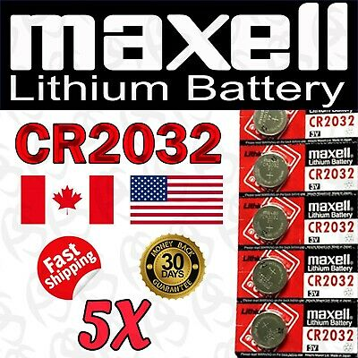 5 Pieces Maxell CR2032 / BR2032 / DL2032 Lithium Battery, 3V, 220mAh.