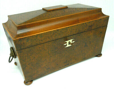 Handsome Georgian Antique Burr Maple Veneered Tea Caddy. Original Key.