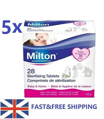 5x Milton Sterilising Tablets Pack 5x28 Tablets Steriliser for Cold Water