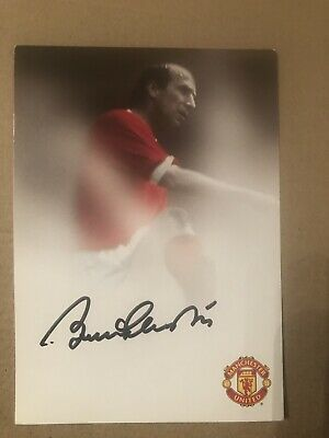 Bobby Charlton Manchester United Signed Promo Club Card 1968 1966 Hero Law Best