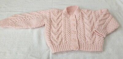 Girls Chunky Aran Hand Knitted Pink Button Front Cardigan Age 2