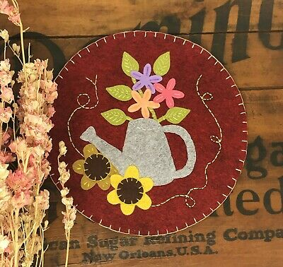 Primitive Stitchery WATERING CAN Penny Rug ~ Primitive Sunflowers Candle Mat