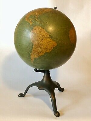Antique Terrestrial World Globe- Rotating Axis- Cast Iron Tripod Base- Pre-1908