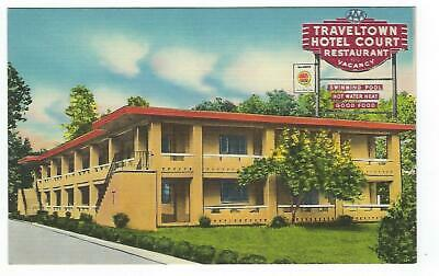 Traveltown Hotel Court & Restaurant, Roanoke, Va., Vintage Linen Postcard