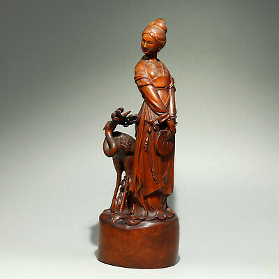Collectable China Old Boxwood Hand-Carved Crane & Fairy Delicate Elegant Statue