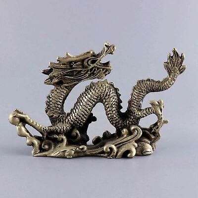 Collect Qianlong Year Tibet Silver Carve Roar Dragon Exorcism Bring Lucky Statue