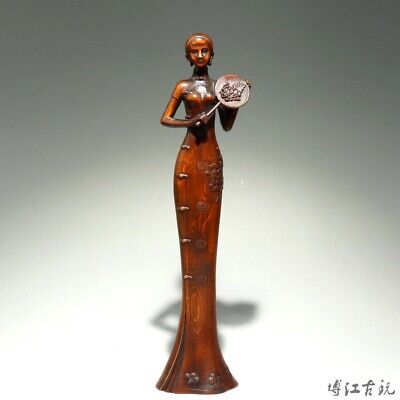 Collection Old Boxwood Hand-Carved Elegant China Classical Belle Delicate Statue