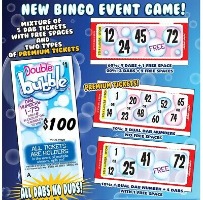 """""""Double Bubble"""" Pull Tab Ticket, Bingo Play Along Game ($100)"""