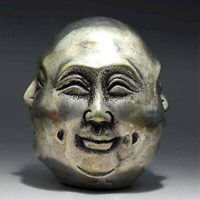 Collect Antique Tibet Silver Carve Four Face Buddha Head Unique Delicate Statue