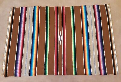 "MEXICAN SALTILLO BLANKET, Serape, Manta, Wool with Cotton, 60"" by 88"", Vintage"
