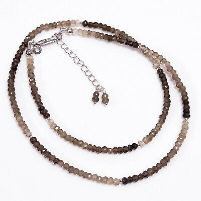 """Natural Smoky Quartz Shaded Round Shape Faceted Beads Necklace 17-19"""" P-778"""
