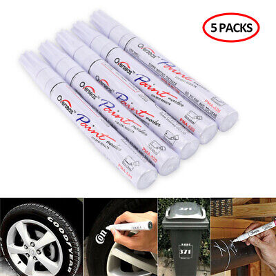5X Tire Permanent WHITE Paint Markers Pen Lettering Rubber White Wall Side Oil
