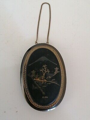 superb Japanese silver and gold Damascene Powder Compact