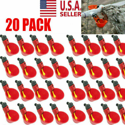 20PCS Poultry Water Drinking Cups Chicken Hen Plastic Automatic Drinker USA