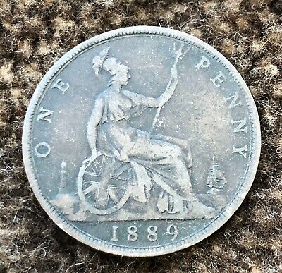 1889 Queen Victoria One Penny Coin - Ref 303