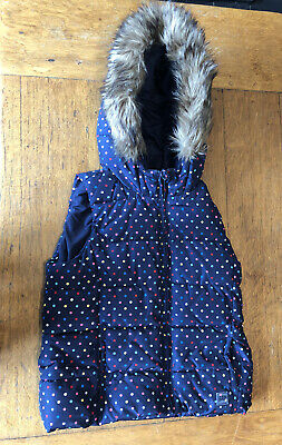 Gap Kids Girls Padded Navy Gillet With Fur Hood Size 14 Years (xxl)