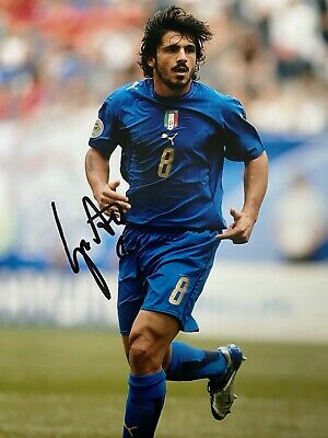 GENNARO GATTUSO Hand Signed AC MILAN & ITALY Autograph Photo - Authentic