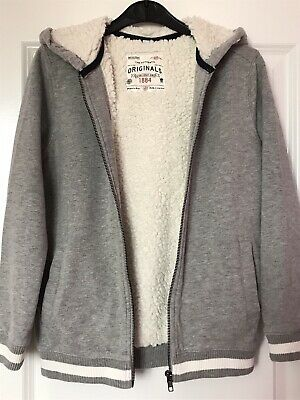 M & S Grey Girls Soft Fleece Lined Hoodie Age 9-10 Yrs