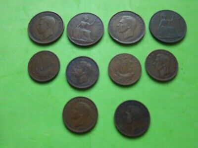 SELECTION OF 10 GEORGE VI COPPER COINS[ B06 ] 1d+1/2d COLLECTION BUILDER