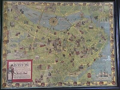 Vintage Map of Boston published by Scott Maps, Concord, MA . Framed