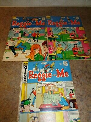 """Three """"Reggie and Me"""" ARCHIE SERIES Comic Books Late 60's/Early 70's"""