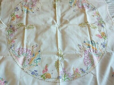 Vintage hand embroidered tablecloth 80x77  beautiful