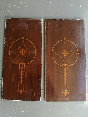 Pair Of Wooden Panels With Beautiful Marquetry