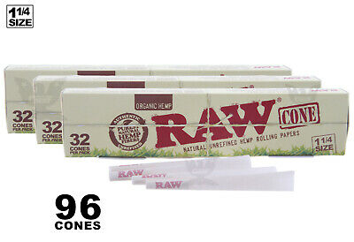 AUTHENTIC RAW (96 CONES) ORGANIC Hemp 1-1/4 Pre-Rolled Cones Fast Free Shipping